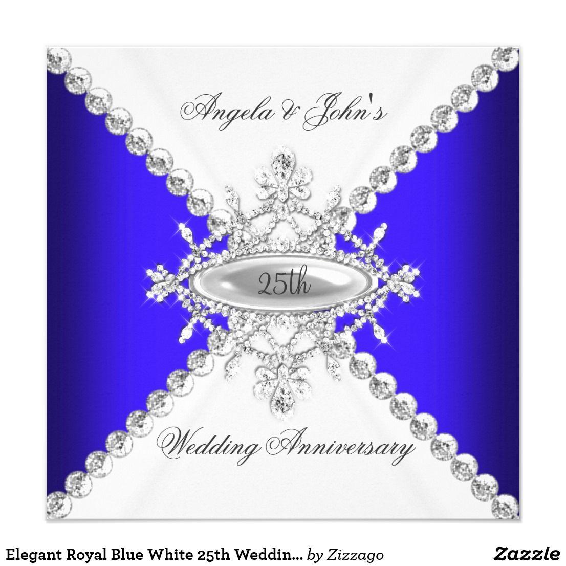 Elegant Royal Blue White 25th Wedding Anniversary Invitation ...