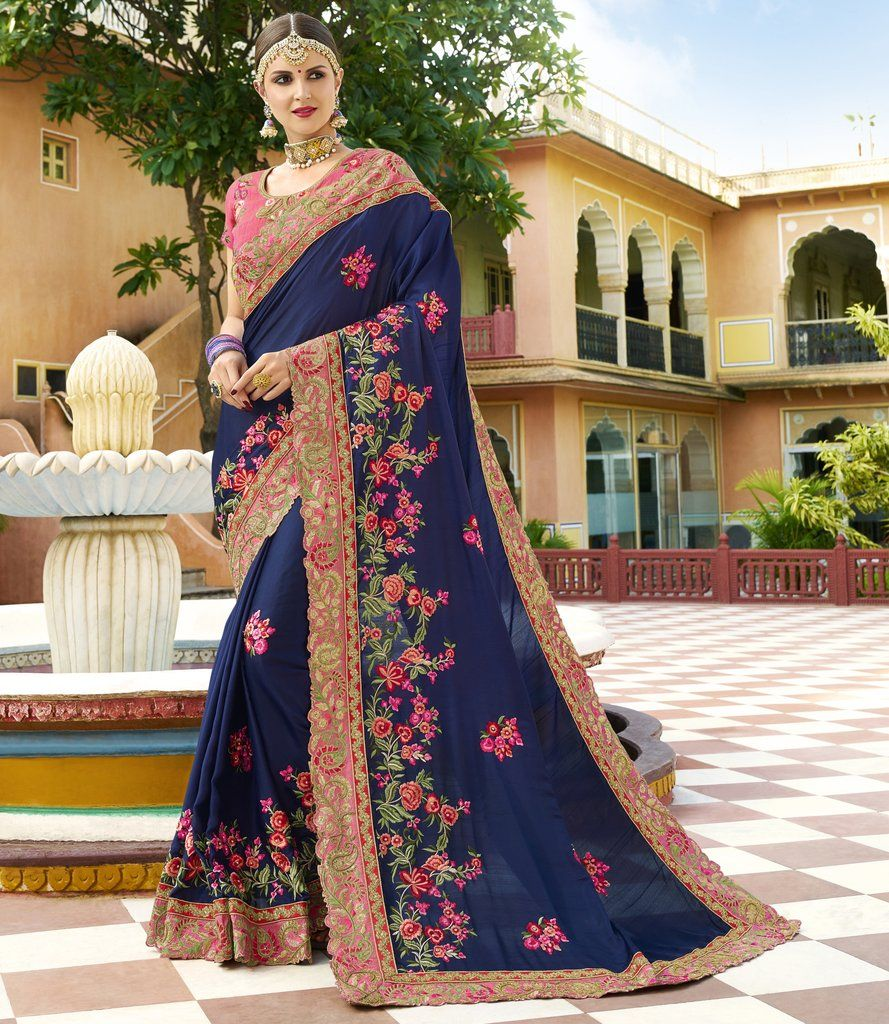1e1661b33e Navy Blue Stones & Pearls Work Embroidered Silk Saree & Unstitched Blouse  #wedding #designer #heavy #embroidered #embellished #Zari #saree #sari  #womans ...