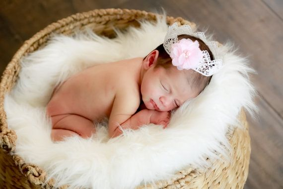Custom Designed Crochet Style Newborn Infant Princess Crown Excellent Photo Prop for Maternity and Coming Home Photo Session Baby Shower
