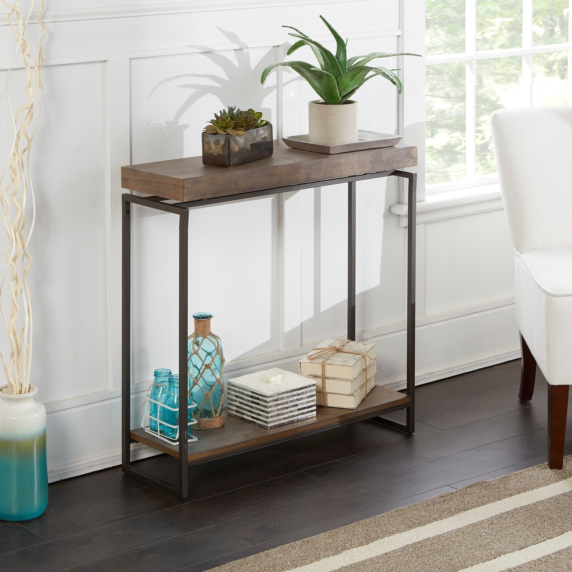 Bronson Floating Top Slim Console Table As Is Item Grey