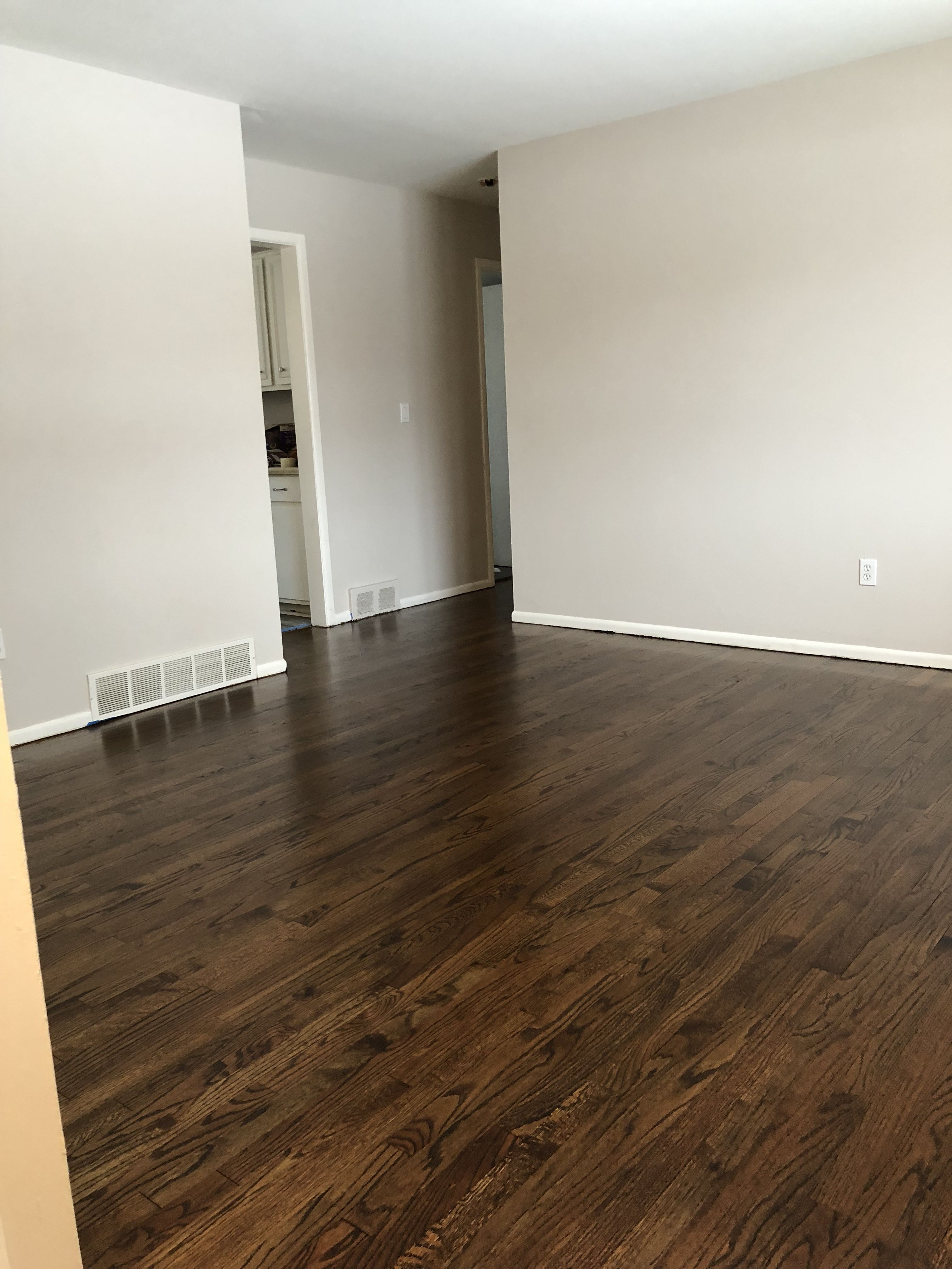 Behr Moth Gray Paint Medium Brown Stain On Oak Floors Revisionedhome