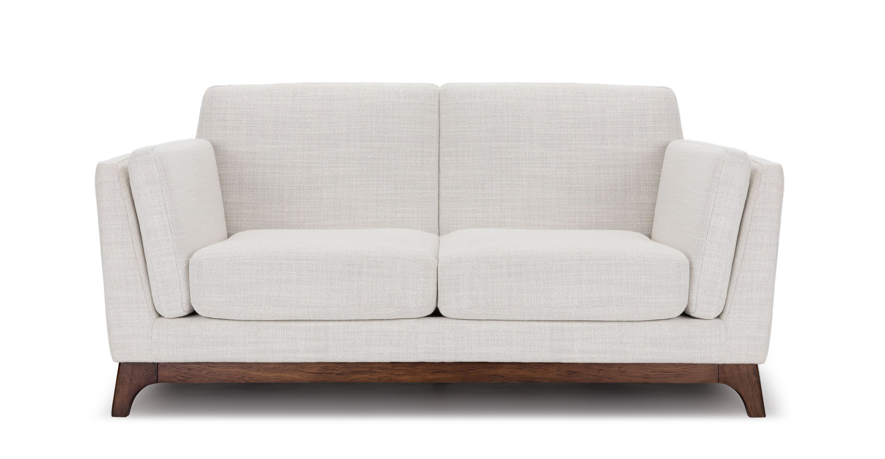 White Fabric Loveseat With Solid Wood Legs Article Ceni Modern