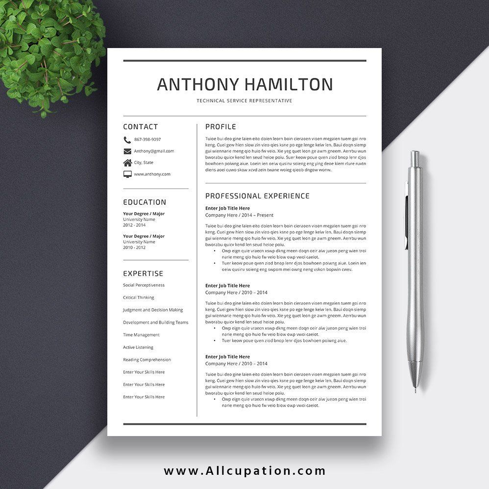 2020 Simple Resume Template / CV Template for Word, Cover