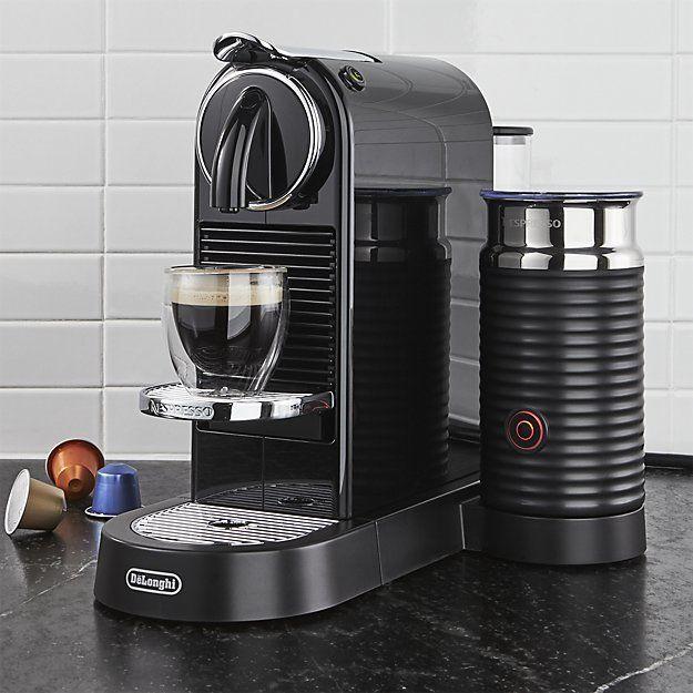 Crate Barrel Nespresso By Delonghi Citiz Black Espresso Machine With Milk Frother In 2020 Nespresso Espresso Machine Reviews Breville Espresso Machine