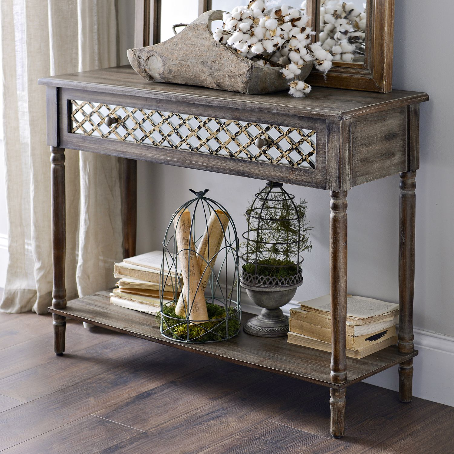 Distressed rustic mirrored console table driftwood console the distressed rustic mirrored console table is one of the most elegant and timeless pieces we geotapseo Images