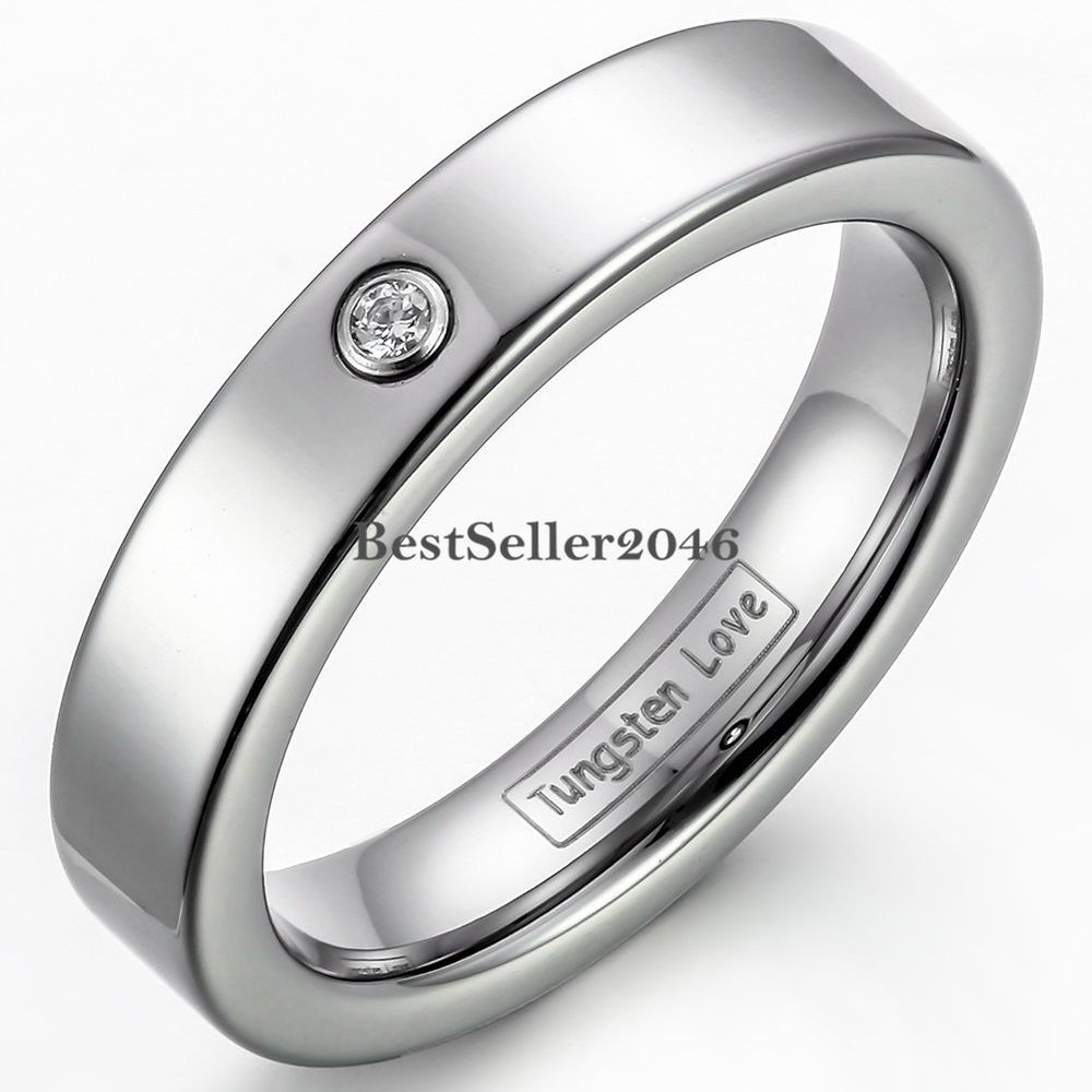 Partnerringe breit  Damen Ring Wolframcarbid hochglanz & matt 4mm breit Partnerring ...