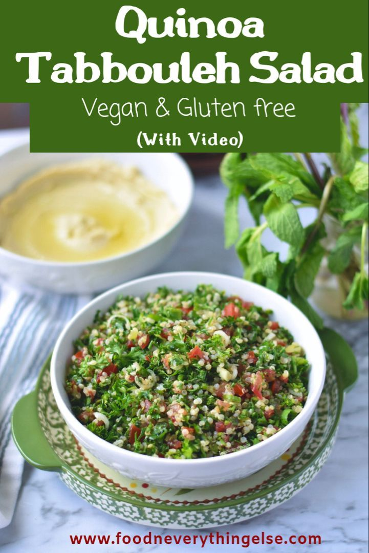 Quinoa Tabbouleh Vegan & Gluten free Salad with Video instructions. This salad is a Vegan protein packed recipe. Also gluten free and grain free. I keep this salad near to the basic recipe.