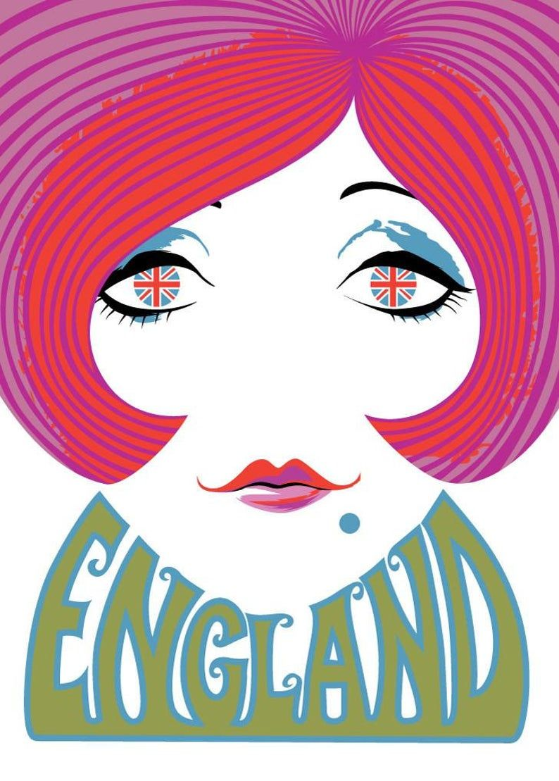 English Mod 60's Gal Print England travel poster, 60s