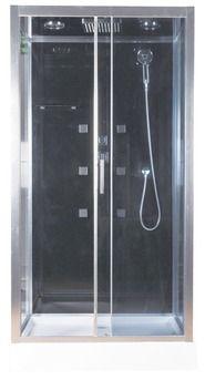 cabine de douche noir profil s en aluminium chrom h 218 cm l 110 cm p 90 cm salle de. Black Bedroom Furniture Sets. Home Design Ideas