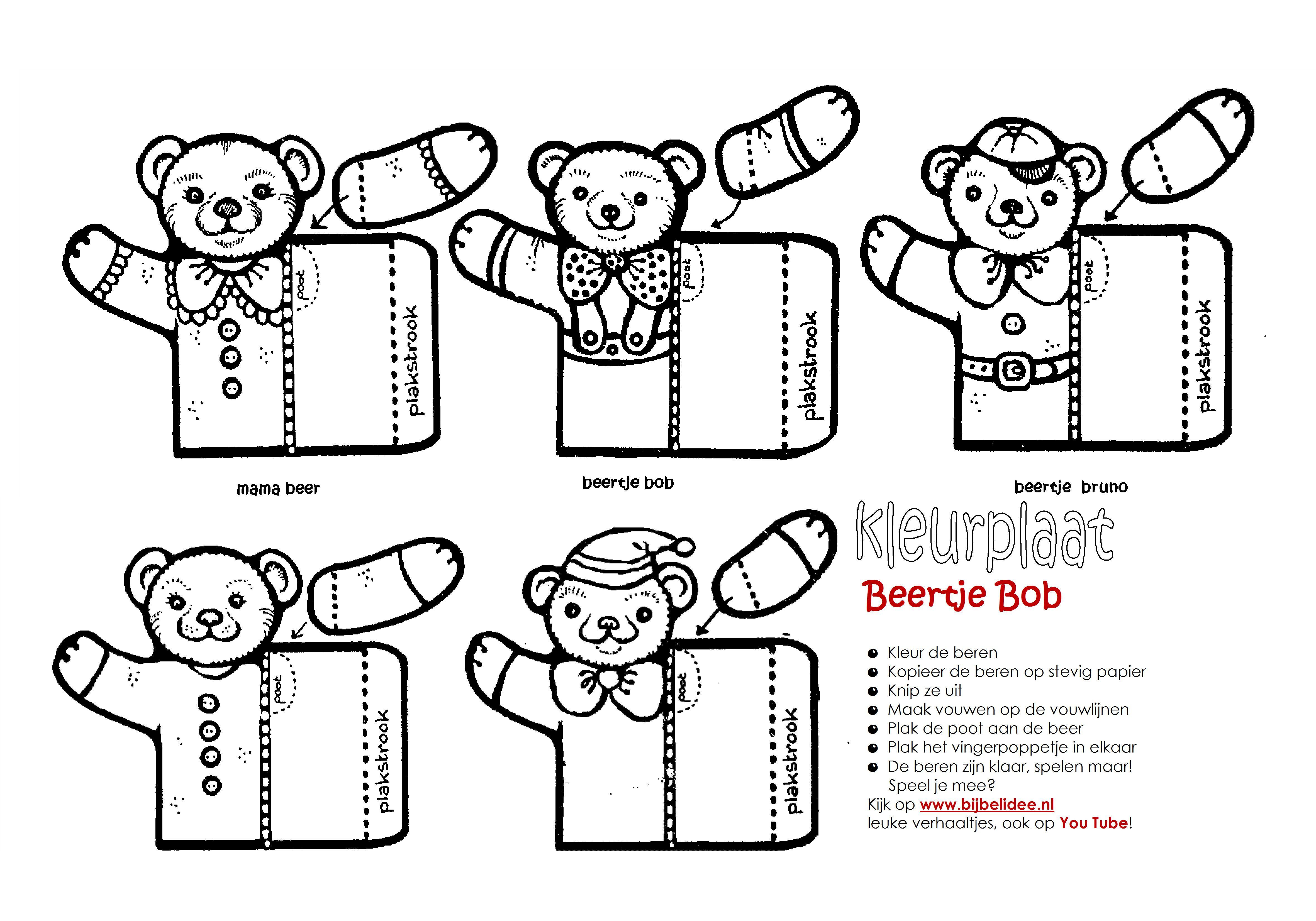Beertje Bob Vingerpoppetjes Kleurplaat Www Bijbelidee Nl Mama Beer Bob Kleurplaten