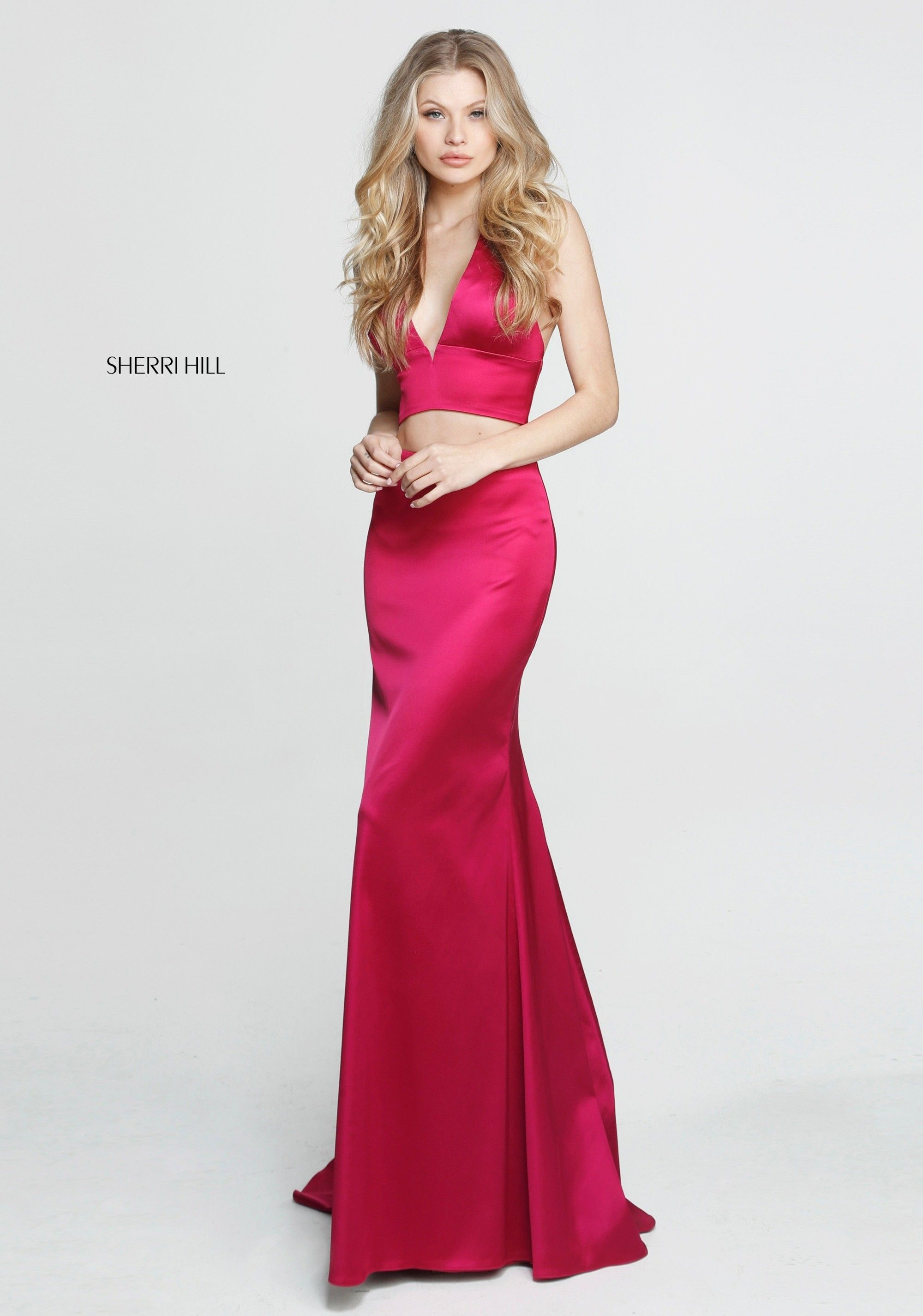Spring 2017 collection featuring Sherri Hill 51250 is available now for pre-order. Call 866-779-7667 for more details. Sexy V-Neck two piece satin evening gown.
