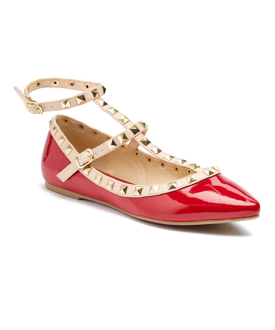 Love this Wild Diva Dark Red Pippa Ankle-Strap Flat by Wild Diva on #zulily! #zulilyfinds