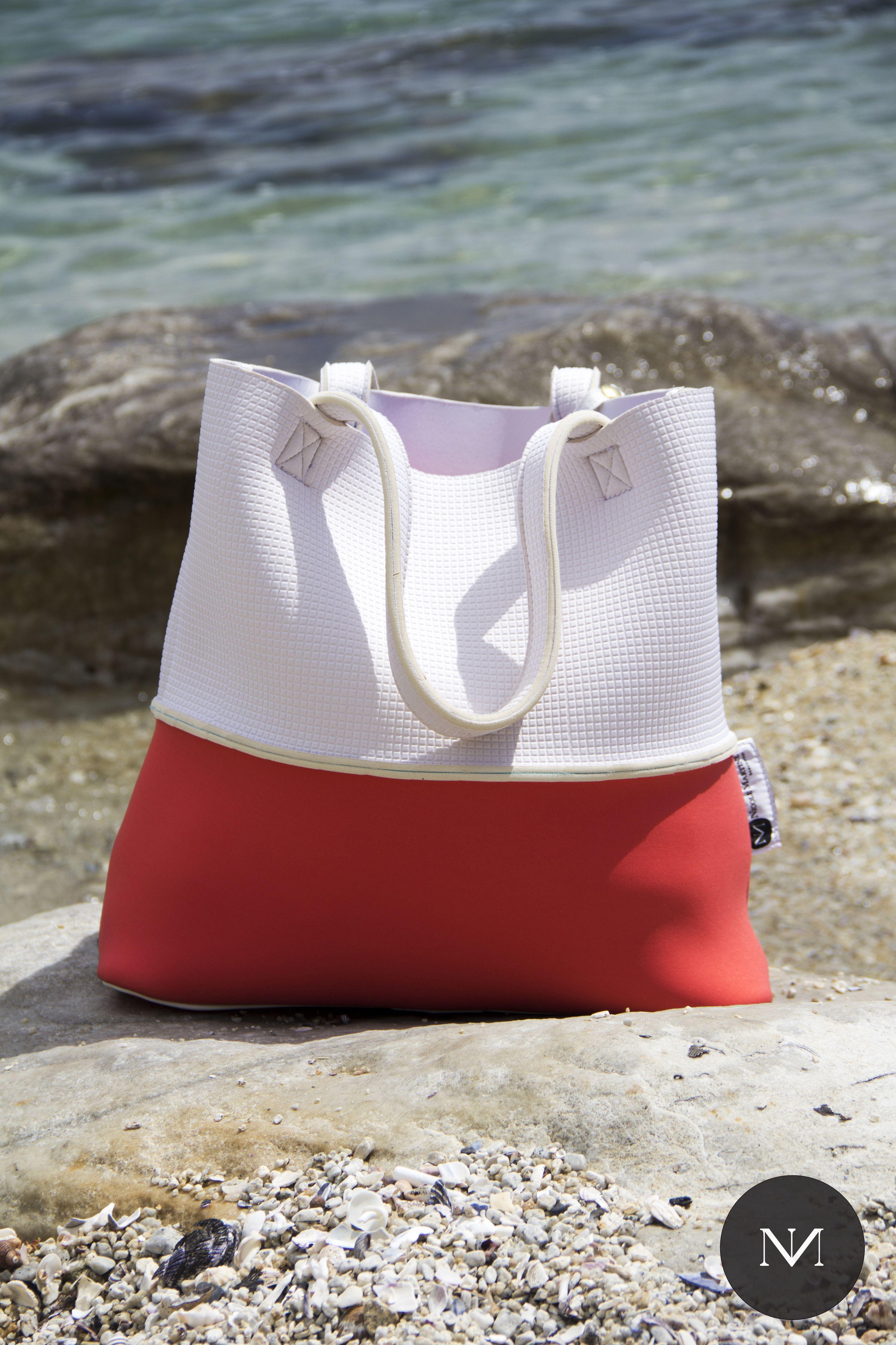 THE MENO REVERSIBLE NEOPRENE BEACH TOTE Nicole Martine Beachwear ...