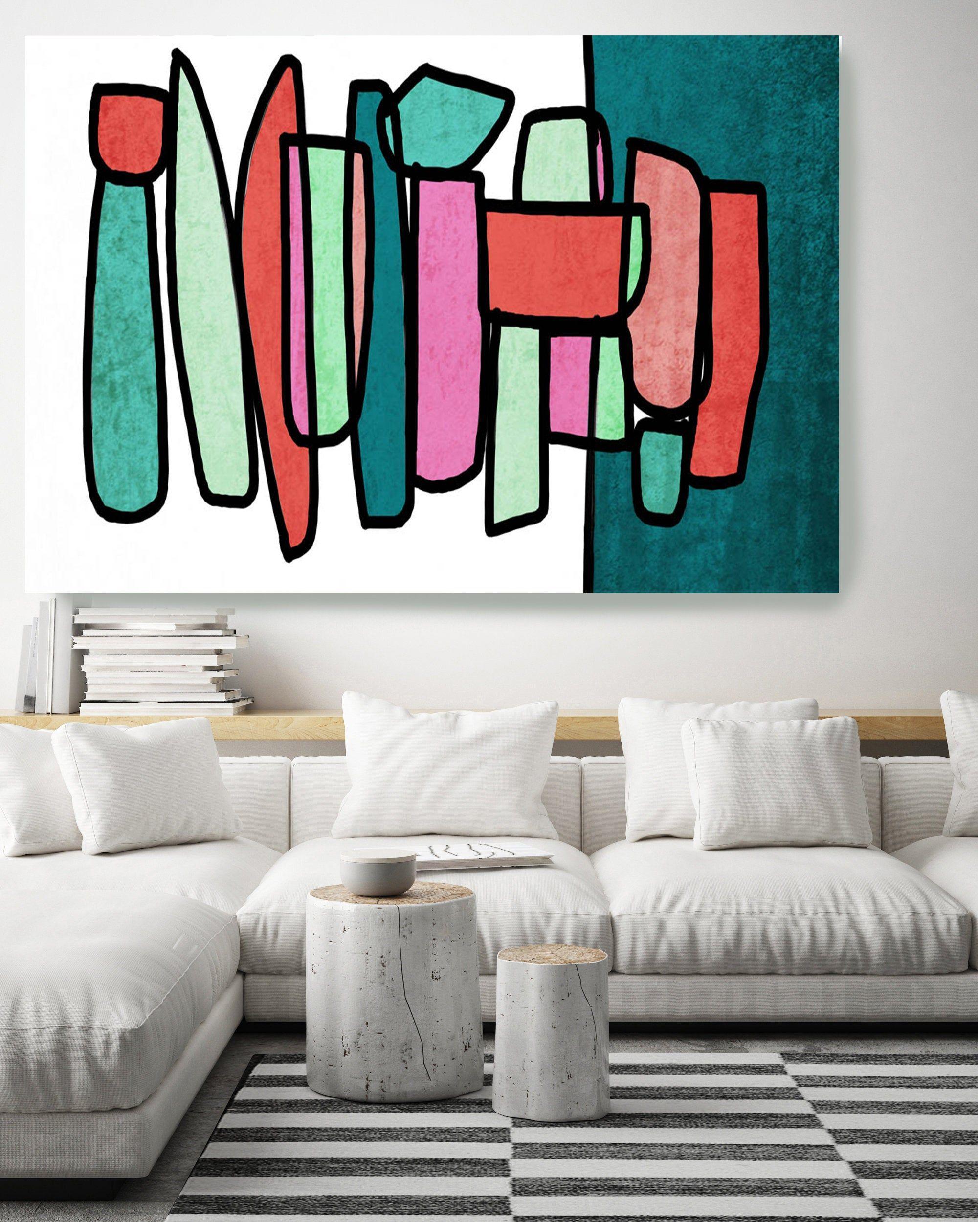 Mid Century Modern Colorful Art Canvas Print Midcentury Modern Abstract Art Midcentury Canvas Print Wall Art Retro Home Decor Brand In 2021 Canvas Art Prints Colorful Art Contemporary Art Canvas