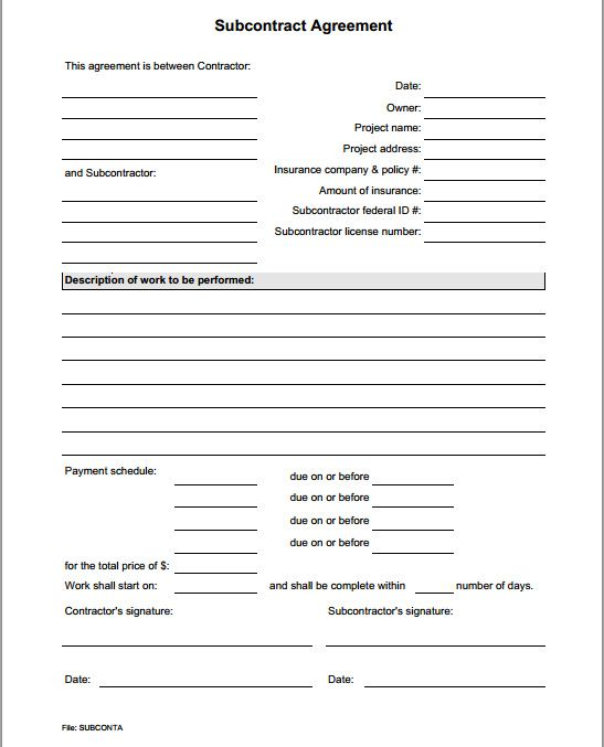 Subcontract agreement form for Order of subcontractors when building a house