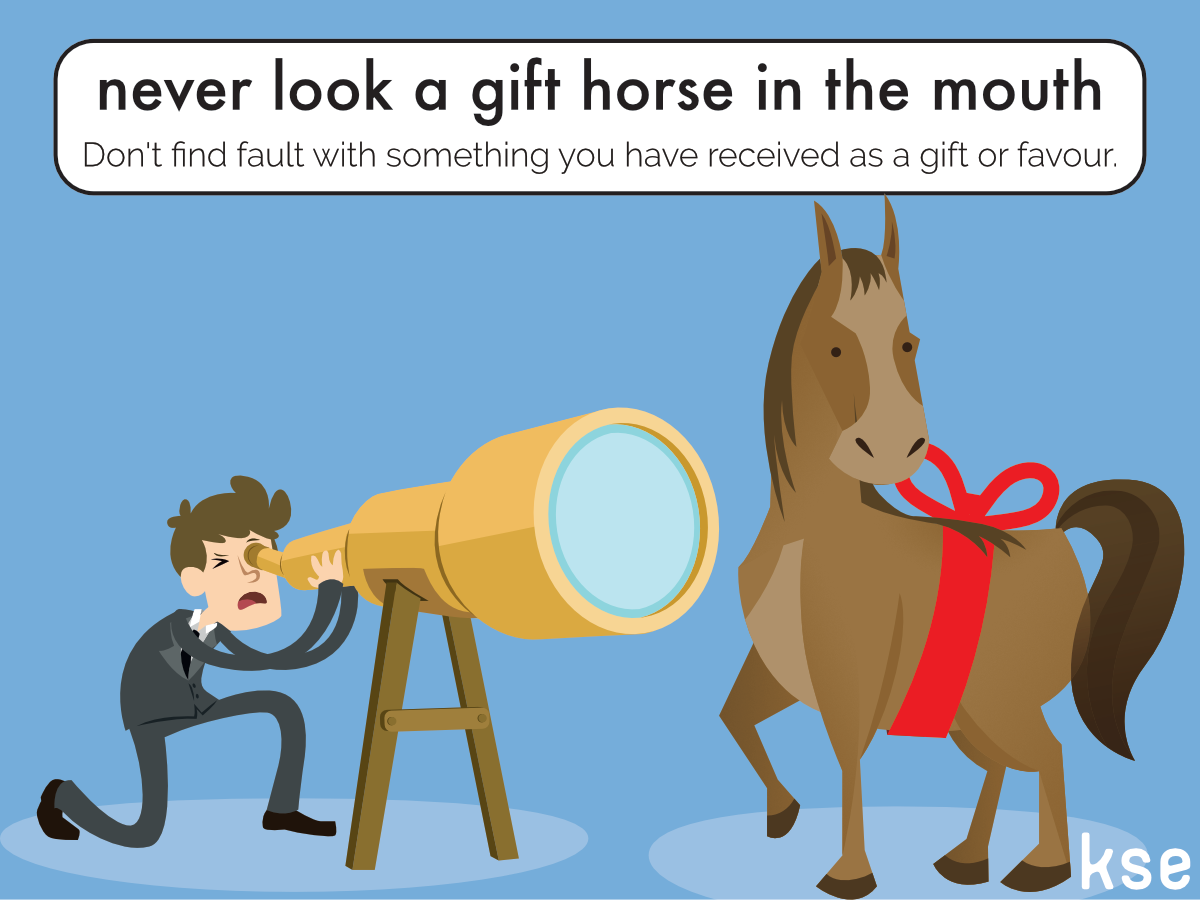 New idiom dont look a gift horse in the mouth spanish a caballo new idiom dont look a gift horse in the mouth spanish negle Choice Image