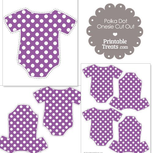 Printable Purple Polka Dot Onesie Cut Outs from PrintableTreats - onesie template