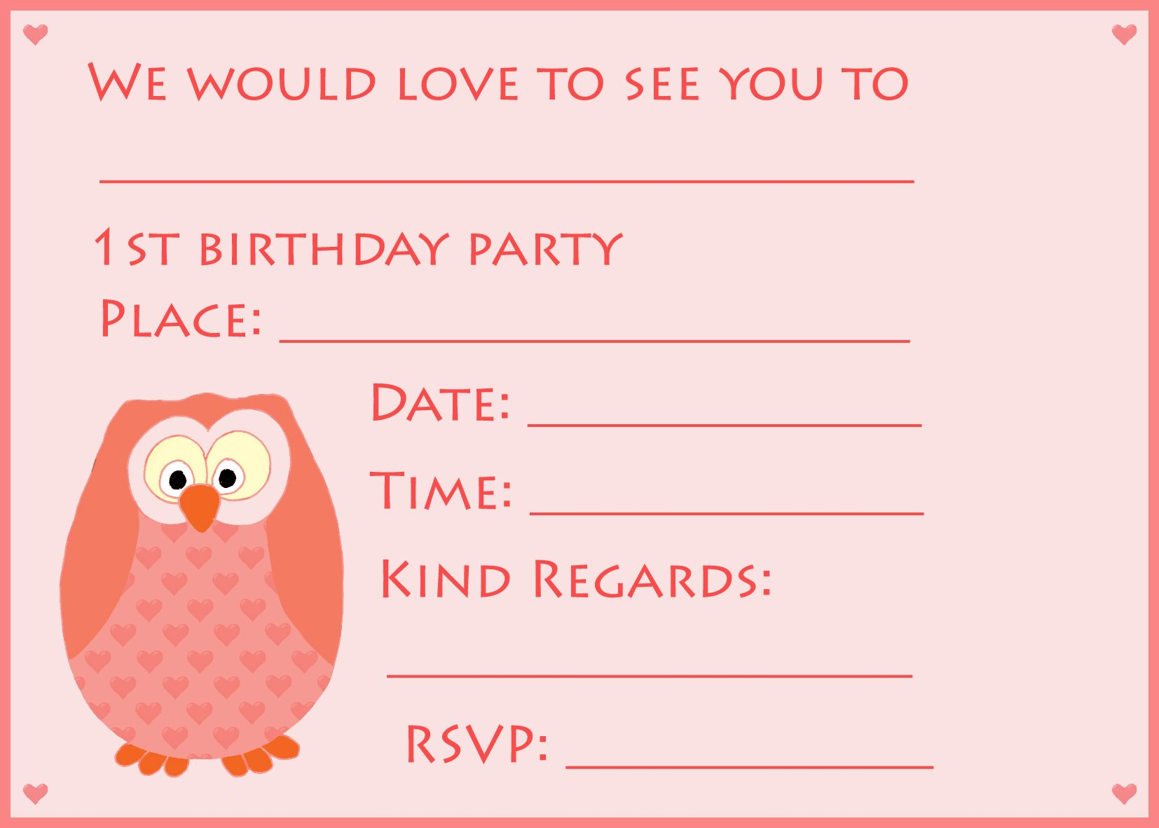 1st Birthday Owl Invitations