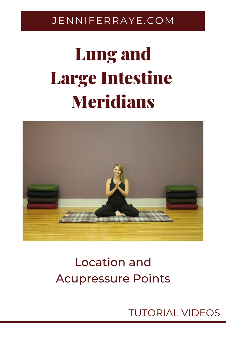 Watch the video to learn about the location of the Lung and Large Intestine meridians and some acupressure points you can use in your yin yoga or active yoga practice. #yinyoga #yoga #jenniferraye