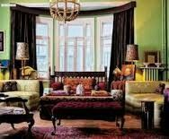 Burgundy and Green living room
