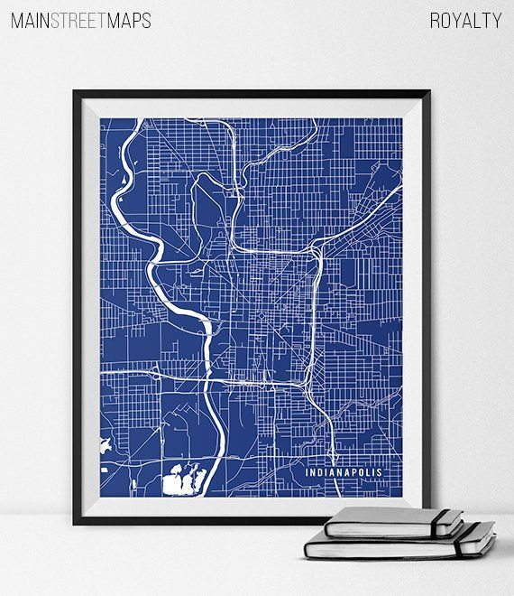 Indianapolis Indiana State Map Art Print, Indy University Butler ...