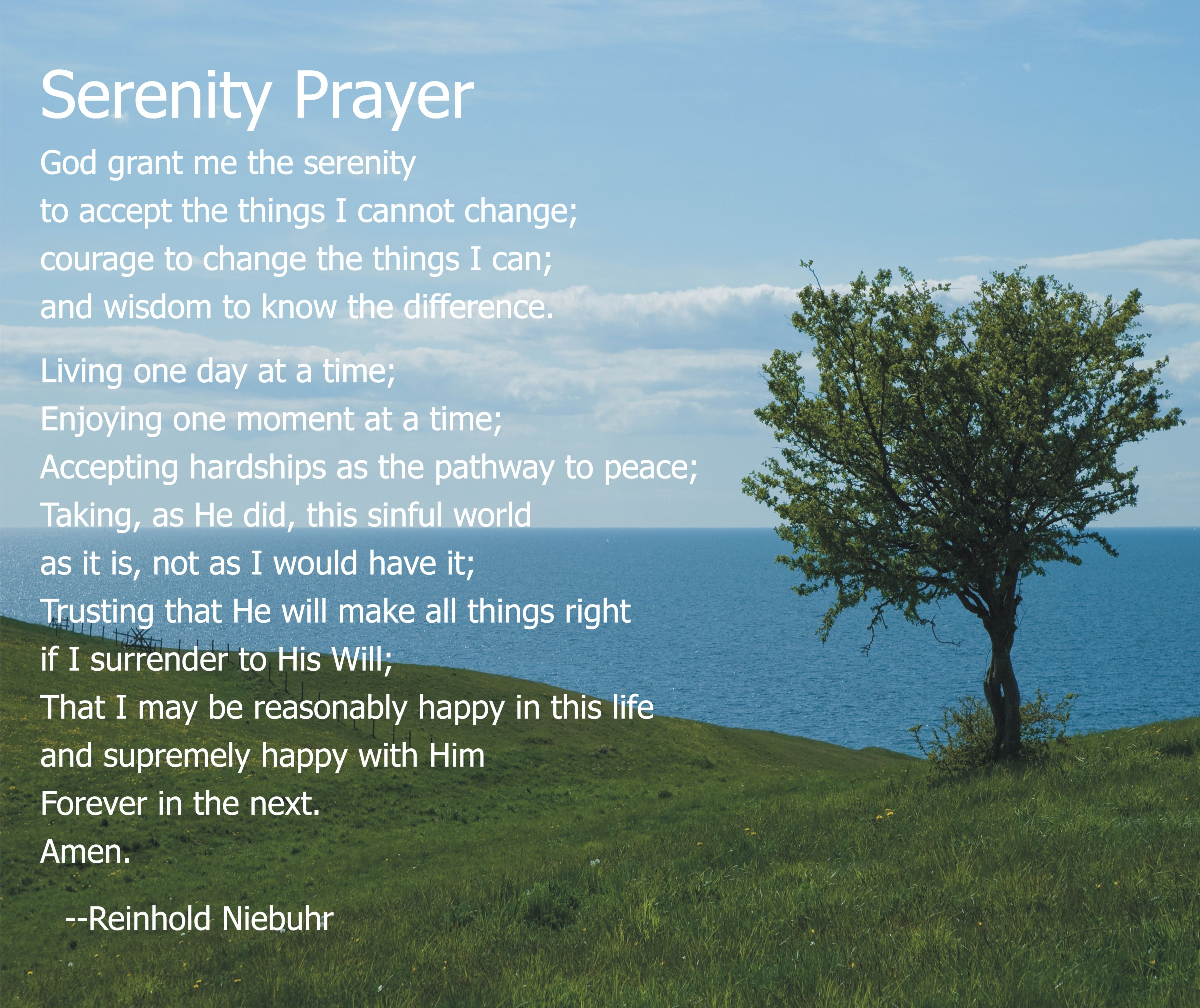Serenity Prayer Including The 2nd Verse Living One Day