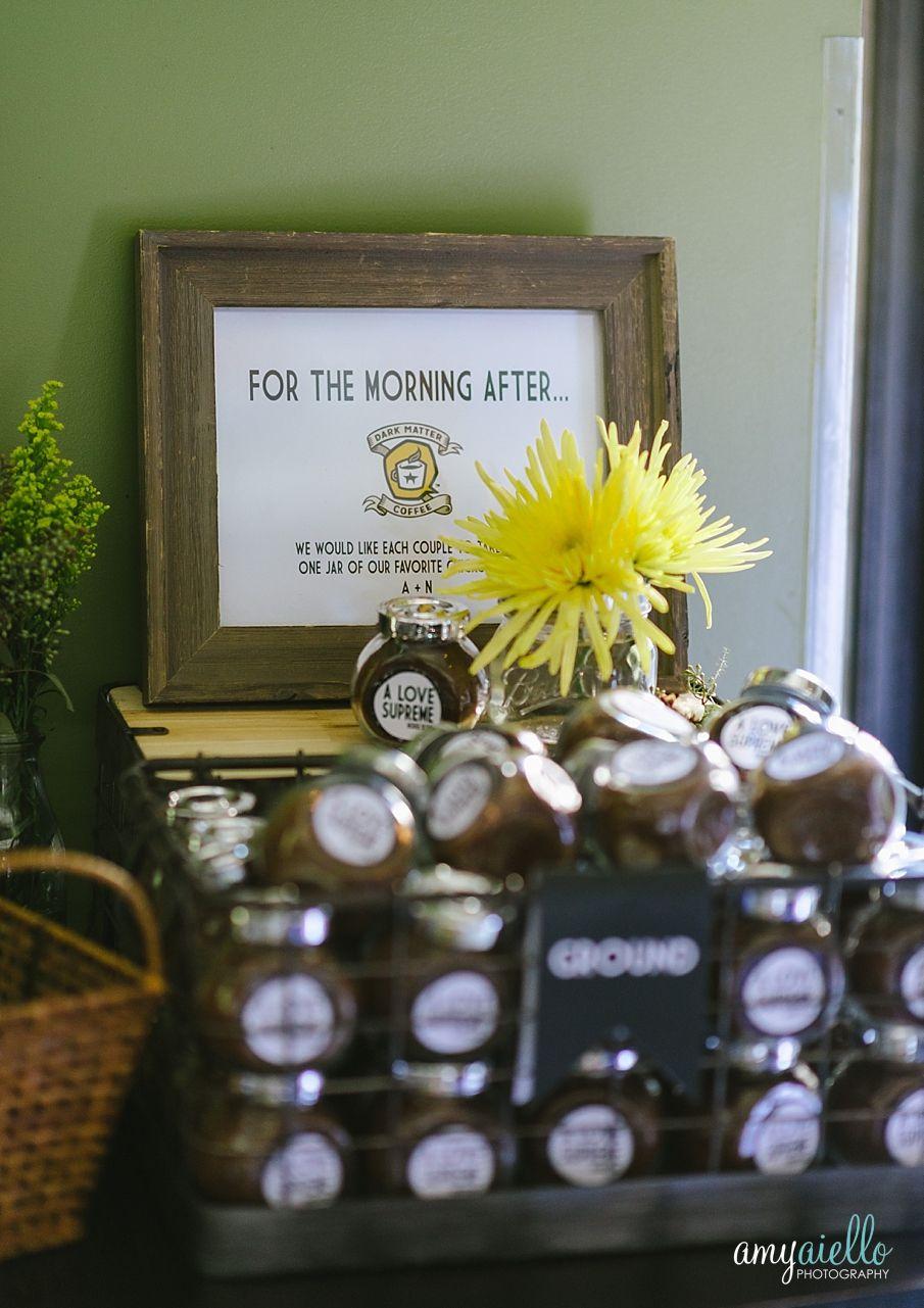 Last minute diy wedding decorations  Dark Matter coffee best wedding favor ever  Wedding Ideasr