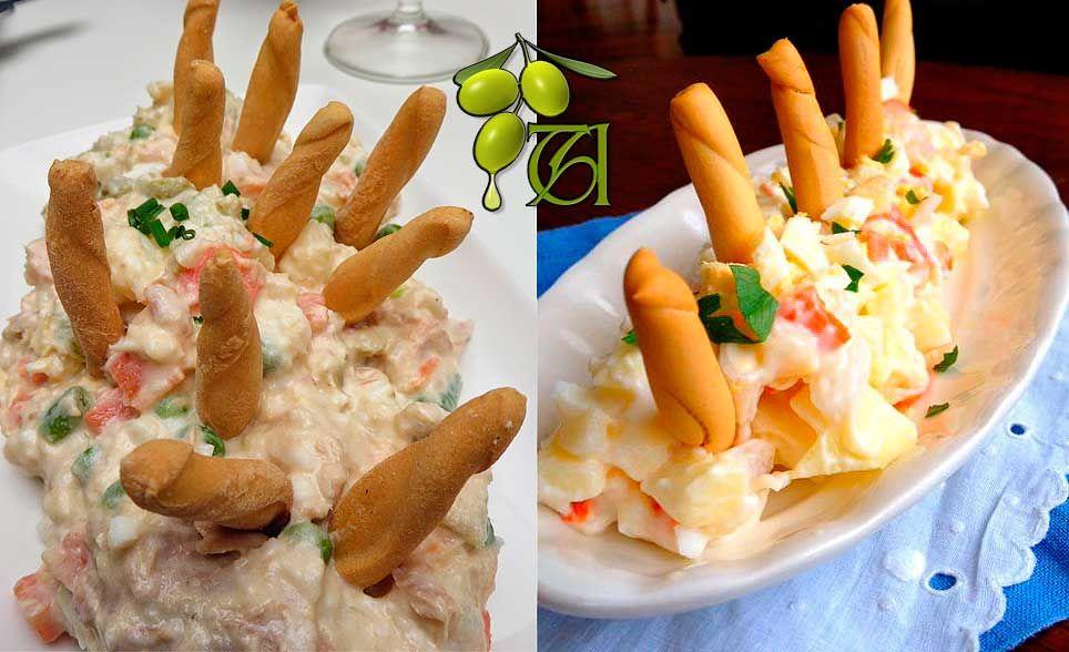 Dos formas de complementar la ensaladilla rusa con picos de pan.