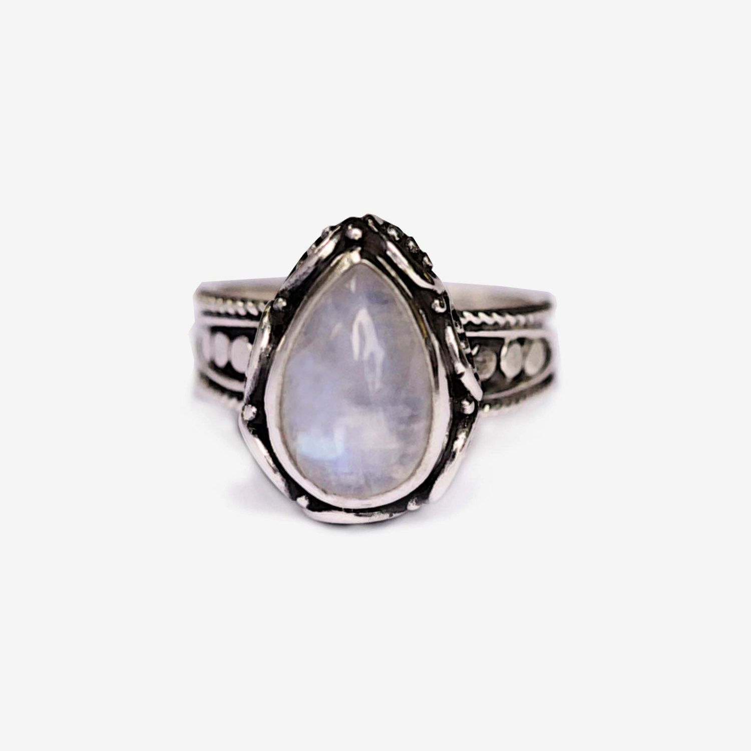 Teardrop Moonstone Ring, Handcrafted in Solid 925 Sterling Silver