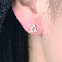 New Fashion All Crystal Studded Cut Out Crown Woman's Stud Earrings