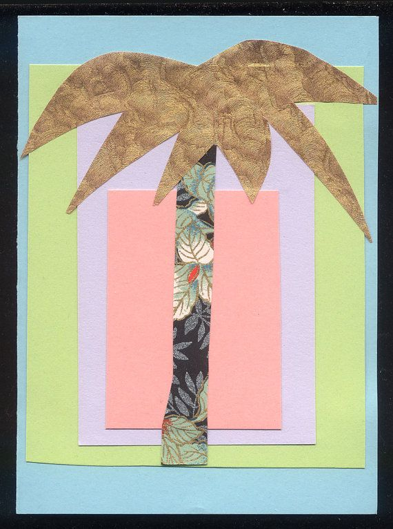 handmade card tropical pastels and GOLD PALM TREE Collage Greeting by mzmudcakes, $5.50