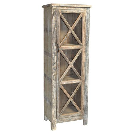 Display your fine china or stow table linens in this country-chic cabinet, beautifully crafted of reclaimed wood and featuring a distressed finish and lattic...