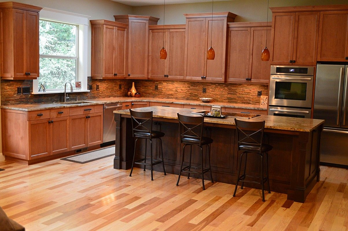 Dark Island With Tumbleweed Color Cabinets L Shape Kitchen Design Using Black Leather Ta Cherry Cabinets Kitchen Tall Kitchen Cabinets Maple Kitchen Cabinets