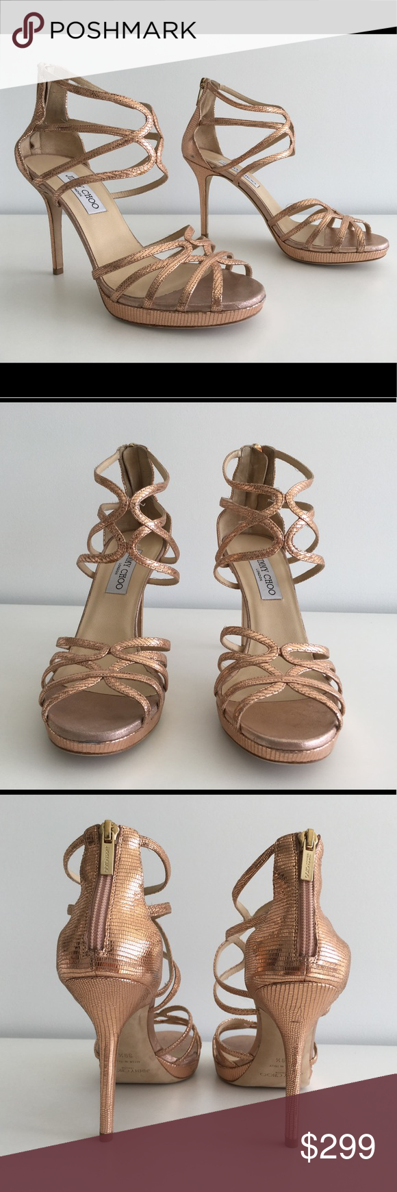 "JIMMY CHOO BLUSH PINK METALLIC ELAPHE HEEL SANDALS -Condition: Brand New Store Display Shoes With Box + Dust Bag. -Minor scuffs on the back heel due to store handling. -Please refer to pictures for further details. -Size: EU 39.5 (Insoles measure 10.5""). -Color: Blush Pink. -Metallic elaphe suede upper. -The slender straps slink up the foot in a pretty curve design on these shimmering sandals.  -Heel measures 4"" / 100mm. -Platform: 0.5"". -Leather lining; Leather soles. -Made in Italy…"