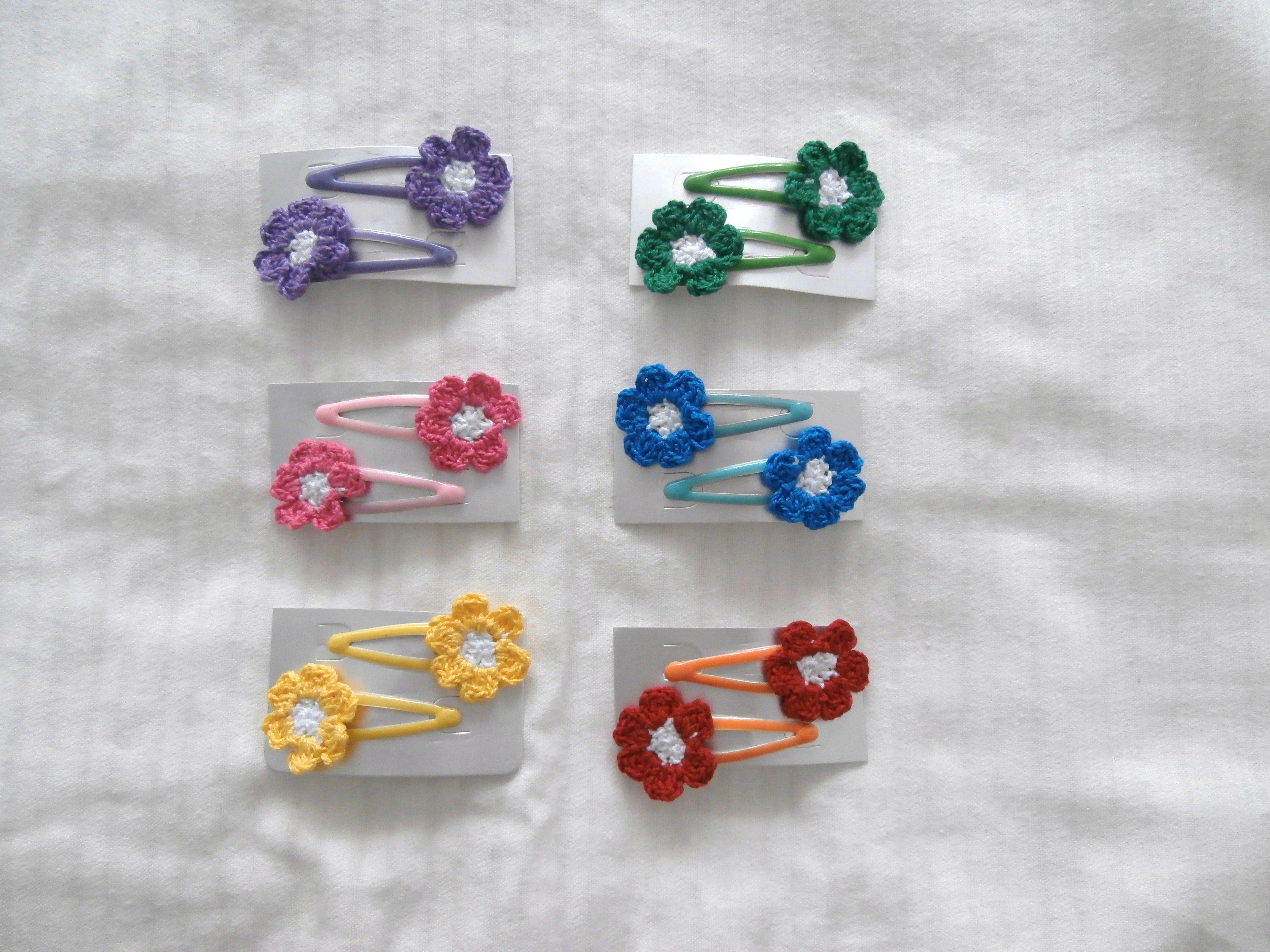 florecitas a crochet para ranitas del pelo | complementos de pelo ...