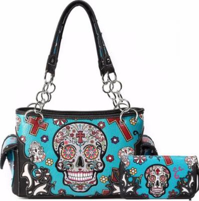 Dead Sugar Skull Handbag Set Concealed Carry Purse Purses Shoulder Bag