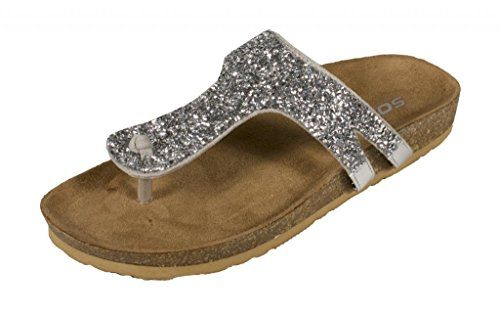 d2cdf40278a Soda Womens Lezena Thong Rhinestone Flat Sandal silver metallic leatherette  6 M US ** This is an Amazon Affiliate link. See this great product.
