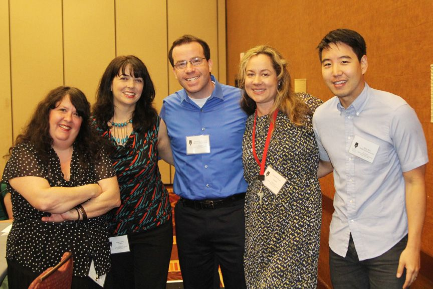 """""""AUSTIN, TX: Posing for a picture with several speakers as well as conference director Jennifer Ziegler (second from right). The event featured many sessions on the craft and business of writing. Photo credit: sambondphotography.com."""""""