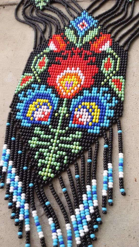 Bead necklace, gerdan, fringe necklace, necklace seed bead, bead ...