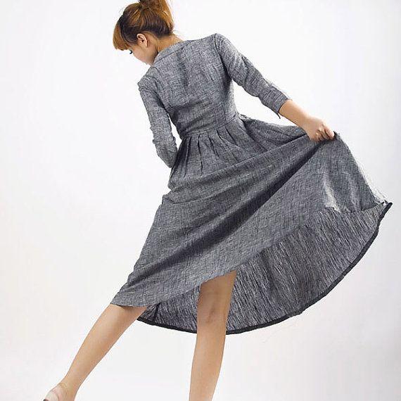 Xialoizi grey linen dress