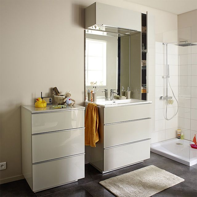Meuble de salle de bains taupe 80 cm Pamili - CASTORAMA | Rénovation ...