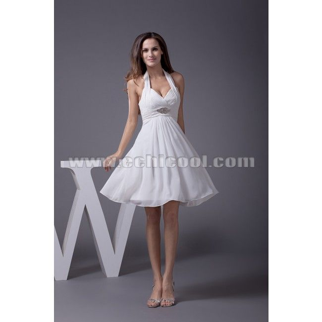 white cocktail dress | White Halter A-line Affordable Short Cocktail ...