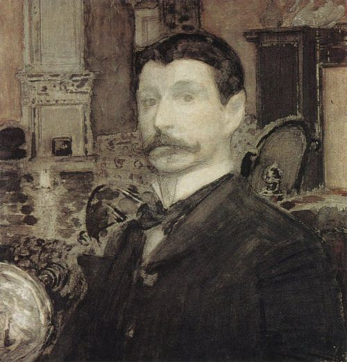 Mikhail Vrubel (Russian, 1856-1910)   Self-portrait with a seashell, 1905