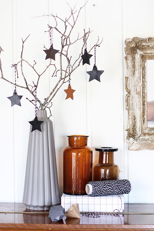 Fourth of July with stars, or Halloween with black and white pumpkins on branches