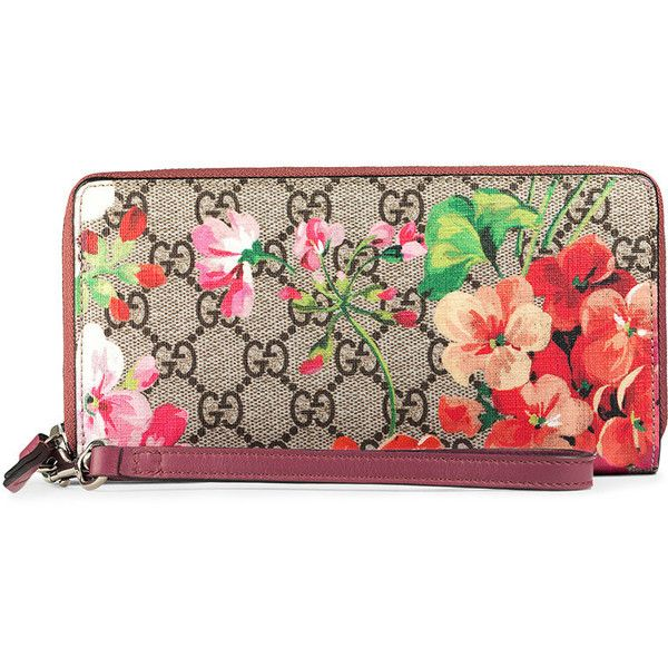 Gucci GG Blooms wrist wallet (€485) ❤ liked on Polyvore featuring bags, wallets, beige, floral print wallet, leather pocket wallet, gucci bags, real leather wallets and handle bag