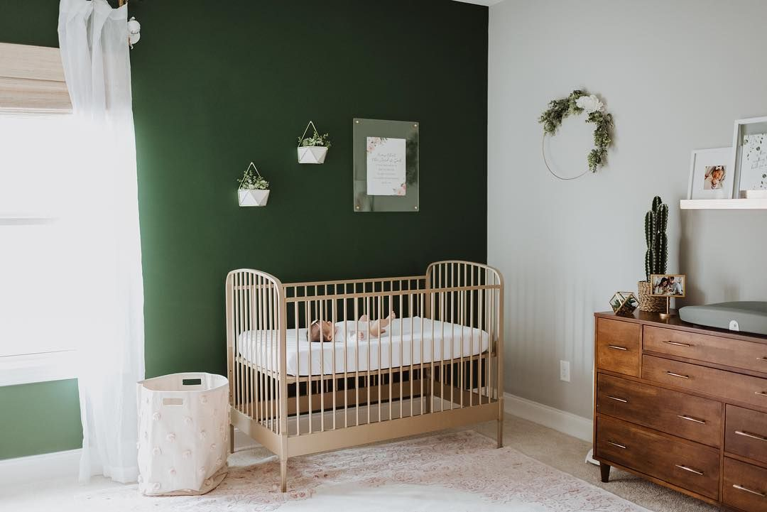 Rich Green Statement Wall Gives A Warm And Inviting Tone To This