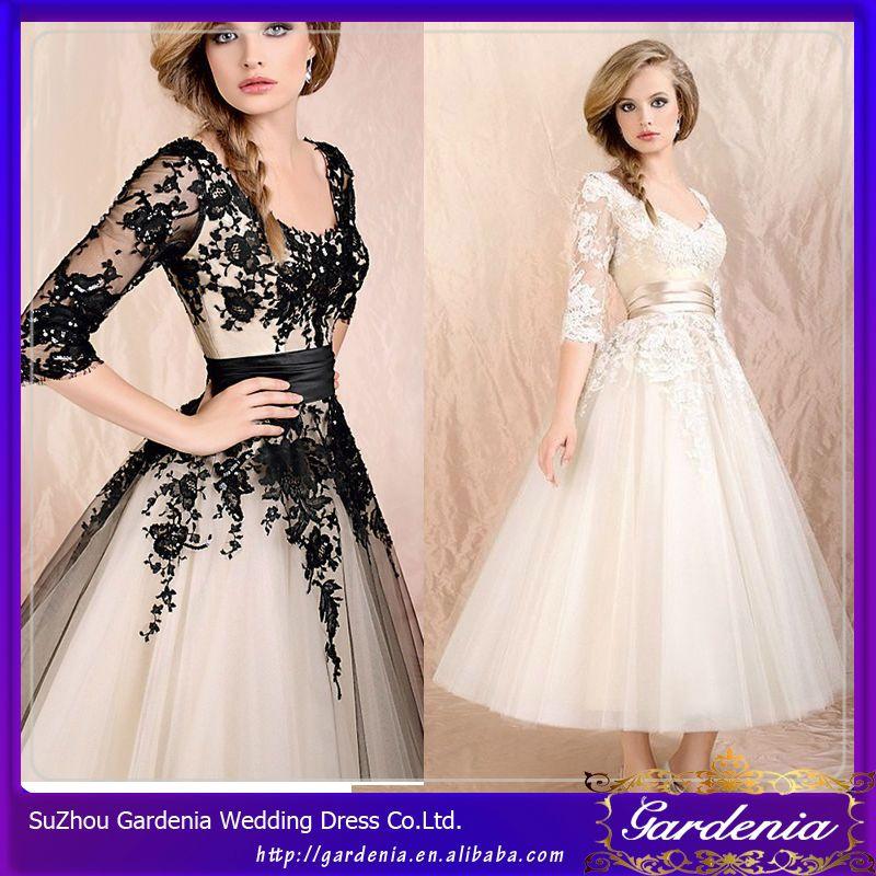 Vestidos de fiesta de encaje negro y blanco