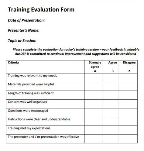 Training Feedback Report Template 2 Training Evaluation Form Training Evaluation Evaluation Form