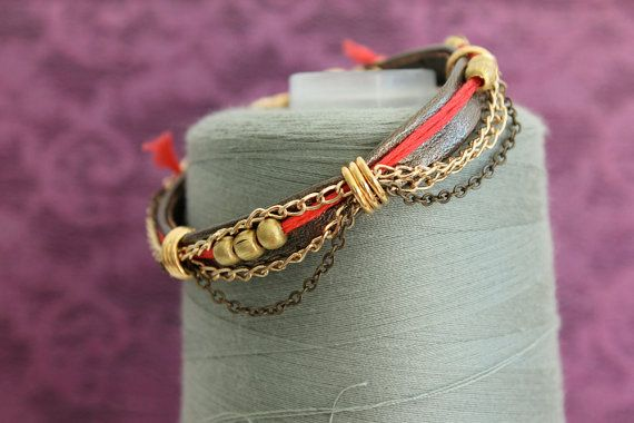 Red and Gold Bracelet by charlottehosten on Etsy, $62.00
