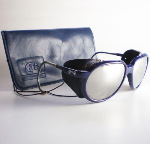 c2f4ae5b1d Vintage Ray Ban CATS 7000 GLACIER Sunglasses side shield aviator ski mirror  blue